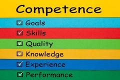 Competence Keywords Concept. Competence diagram on colored paper sheets. Business Concept stock image