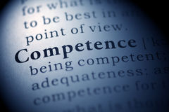 Competence. Fake Dictionary, Dictionary definition of the word Competence. including key descriptive words royalty free stock photos
