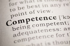 Competence. Fake Dictionary, Dictionary definition of the word Competence. including key descriptive words royalty free stock images