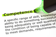 Competence highlighted in green stock photography