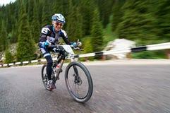 Competencia ascendente que monta en bicicleta Fotografía de archivo libre de regalías