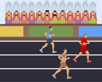 Competencia corriente Los atletas funcionan con la distancia Corredores de los atletas stock de ilustración