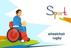 Competencia de deporte discapacitada de la silla de ruedas de Play Rugby On del atleta Imagenes de archivo