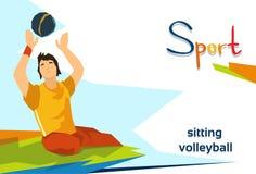 Competencia de deporte discapacitada de Play Sitting Volleyball del atleta Fotos de archivo