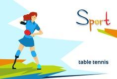 Competencia de deporte discapacitada del tenis de Woman Play Table del atleta Fotografía de archivo libre de regalías