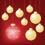 Competencia de la bola de la Navidad y un mensaje feliz del saludo Imagenes de archivo