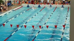 Competencia de la natación en la casa de la universidad física de la cultura de comunicaciones en St Petersburg almacen de video