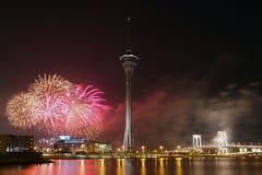 Competencia de la visualización de los fuegos artificiales de Macau Int'l Fotografía de archivo libre de regalías