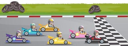 Competencia de las carreras de coches stock de ilustración
