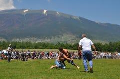 Competencia de lucha del aceite, Dragash Kosovo Imagen de archivo libre de regalías