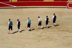 Competencia de saltos y de la acrobacia en toros. Imagen de archivo libre de regalías