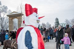 Competencia del Año Nuevo de muñecos de nieve Foto de archivo libre de regalías