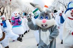 Competencia del Año Nuevo de muñecos de nieve. Foto de archivo