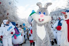 Competencia del Año Nuevo de muñecos de nieve. Fotografía de archivo libre de regalías