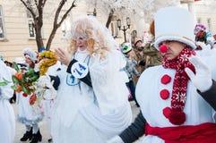 Competencia del Año Nuevo de muñecos de nieve. Fotos de archivo libres de regalías