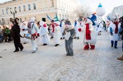 Competencia del Año Nuevo de muñecos de nieve… Imagen de archivo libre de regalías