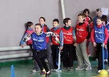 Competencia del atletismo de los niños Fotos de archivo libres de regalías