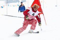 Competencia del esquí del invierno Foto de archivo libre de regalías