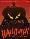 Competencia del traje de Halloween con la araña disfrazada con una calabaza, ejemplo del vector Fotos de archivo libres de regalías