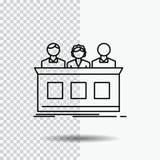 competencia, competencia, experto, juez, línea del jurado icono en fondo transparente Ejemplo negro del vector del icono stock de ilustración
