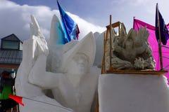 Competencia internacional de la escultura de nieve Fotos de archivo libres de regalías