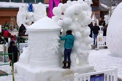 Competencia internacional de la escultura de nieve Imagen de archivo libre de regalías