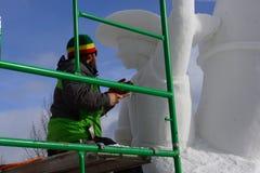 Competencia internacional de la escultura de nieve Foto de archivo libre de regalías