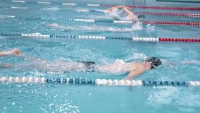 Competencia o entrenamiento del nadador de la cámara lenta en la piscina metrajes