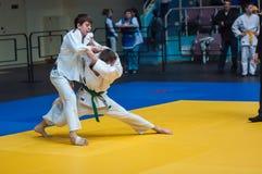 Competencias del judo entre los muchachos, Orenburg, Rusia Fotos de archivo