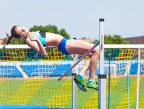 Competencias en salto de altura imagen de archivo libre de regalías