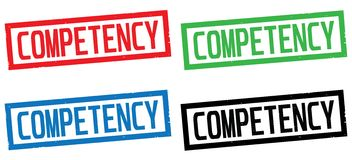 COMPETENCY text, on rectangle border stamp sign. Royalty Free Stock Image