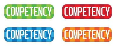 COMPETENCY text, on rectangle, zig zag pattern stamp sign. Royalty Free Stock Photo