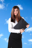 Competent Businesswoman. An attractive, competent looking business woman  with a briefcase Royalty Free Stock Images