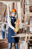 Competent carpenter processing wood. At workshop Stock Image