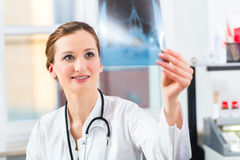 Competent doctor analyzes x-ray image Royalty Free Stock Images