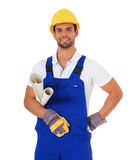 Competent manual worker. Portrait of a competent manual worker. All on white background Royalty Free Stock Photos