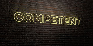 COMPETENT -Realistic Neon Sign on Brick Wall background - 3D rendered royalty free stock image Royalty Free Stock Photo
