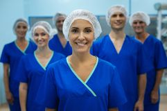 Competent surgeon posing on camera royalty free stock photography