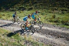 Competição da aventura da bicicleta de montanha Foto de Stock Royalty Free