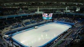 competição da Curto-trilha em Jogos Olímpicos do inverno em Sochi Fotografia de Stock Royalty Free