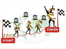 Competição da moeda em épocas econômicas difíceis Imagens de Stock Royalty Free