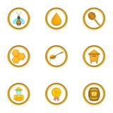A competição de ícones dos apicultor ajustou-se, estilo dos desenhos animados Imagens de Stock Royalty Free