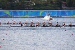 Competição de Coxed oito nos Olympics Rio2016 fotografia de stock