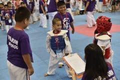 Competição de Junior Taekwondo Foto de Stock Royalty Free