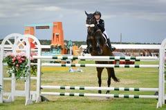 Competição de salto do cavalo de HIPICO Fotografia de Stock