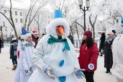 Competição do ano novo dos bonecos de neve Fotografia de Stock Royalty Free