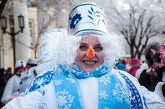 Competição do ano novo dos bonecos de neve Imagens de Stock