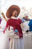 Competição do ano novo dos bonecos de neve… Fotografia de Stock