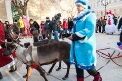 Competição do ano novo dos bonecos de neve… Imagens de Stock