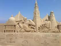 Competição do castelo da areia Fotografia de Stock Royalty Free
